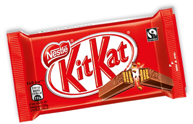 A four bar kit Kat in its signature red packaging with an image of a single bar broken in two to simulate their tag line