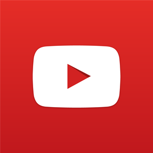 New YouTube logo red background, white centred rounded rectangle with a centred triangle for a play button