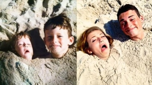 Two siblings buried in the sand with just heads out as kids. Right photo same but as adults