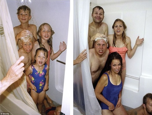 five siblings in the shower for a funny family photo to the left the same siblings as adults