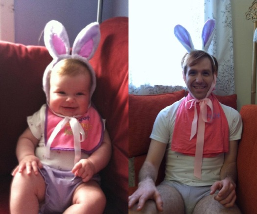 baby boy with bunny ears and a pink bib on, same baby but as an adult man in the same outfit