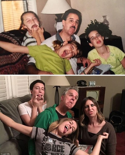3 siblings with their father in the middle all pulling funny faces