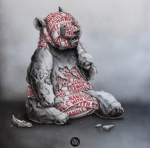Handle with care - a sitting bear pencil and paint illustration with a torn withered bear with a ream of handle with care tape around his body