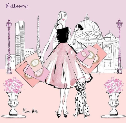 A Paris inspired illustration in pale pinks. I stylish woman holding shopping bags with a Dalmatian sat to her left.