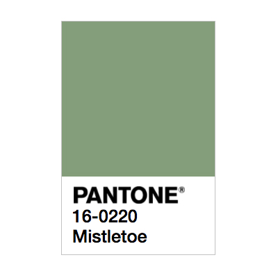Pantone colour of the day swatch. Mistletoe 10-0220
