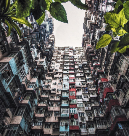 a mass of concrete apartments in Hong Kong