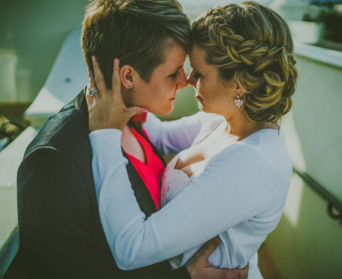 a Happy couple in an intense moment on their wedding day. photo named Mrs and Mrs