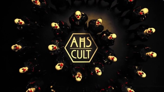 AHS Cult artwork clowns circling the title of this season 7
