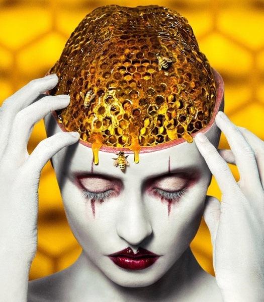 AHS Cult facial artwork 1 represents bees, cult mentality and irregular holes phobia
