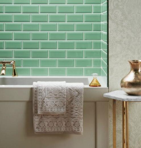 Meadow coloured bathroom tiles